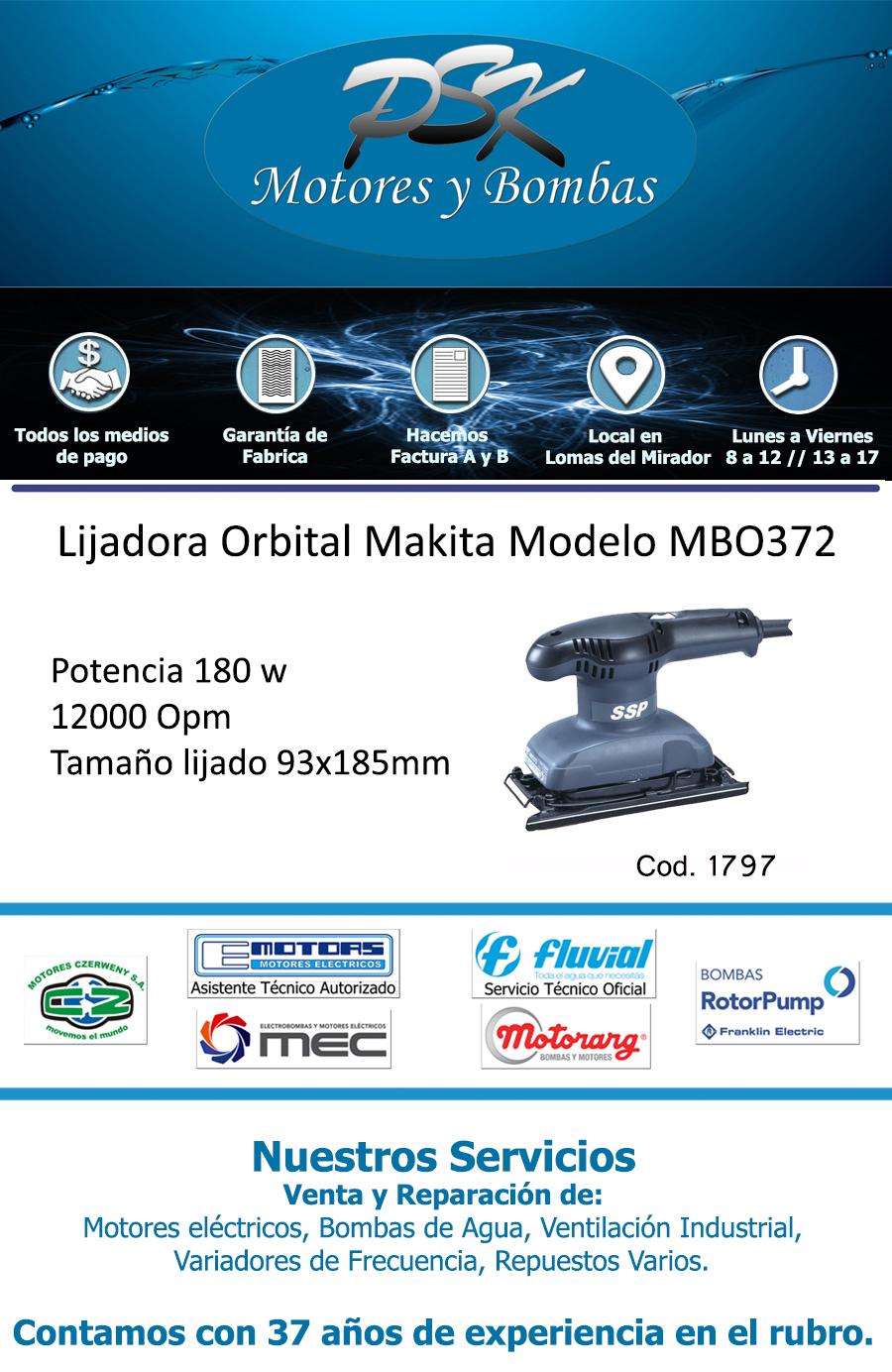 Lijadora orbital makita ssp mbo372 93x185mm 180w - Lijadora orbital precio ...